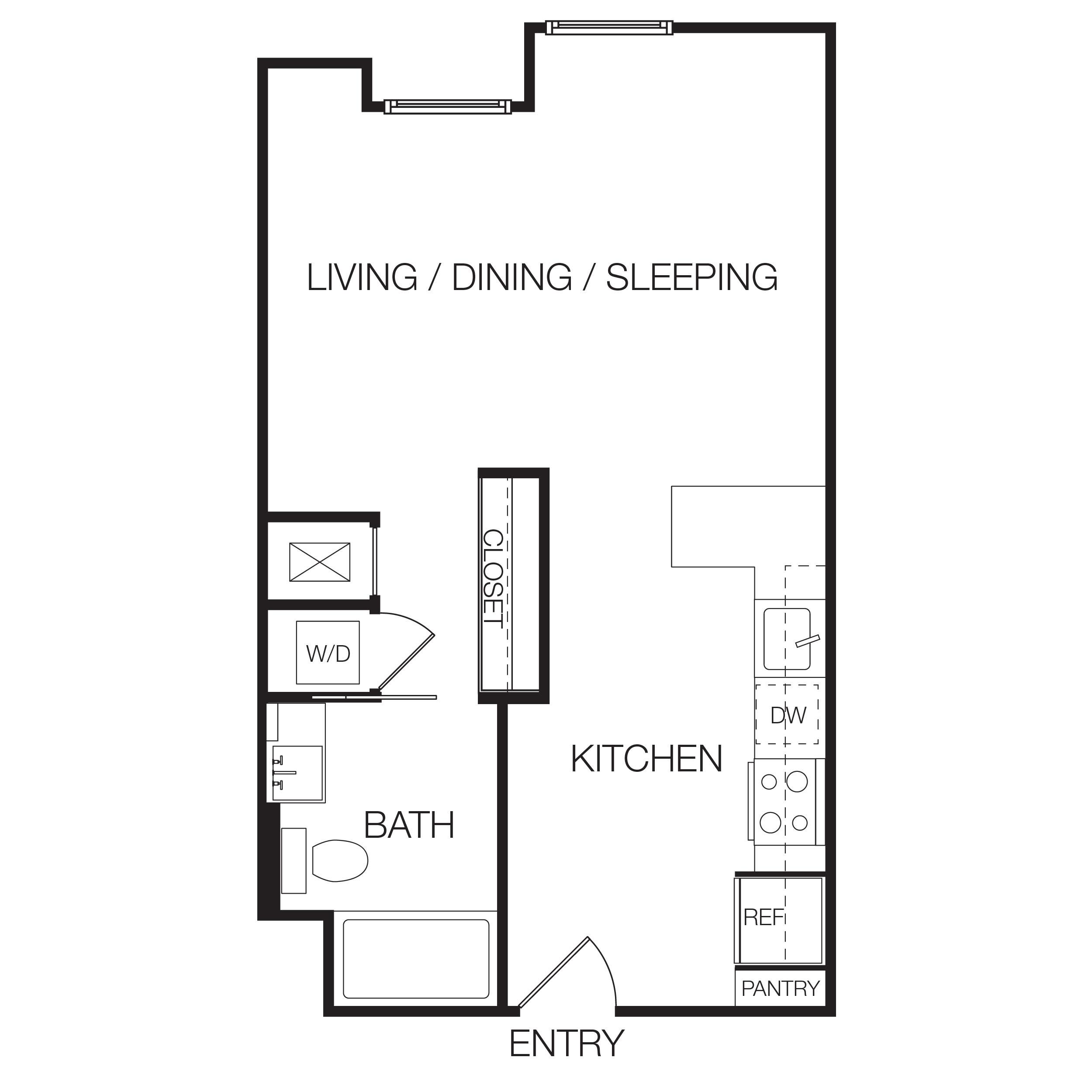 Studio, One, & Two Bedroom Apartments