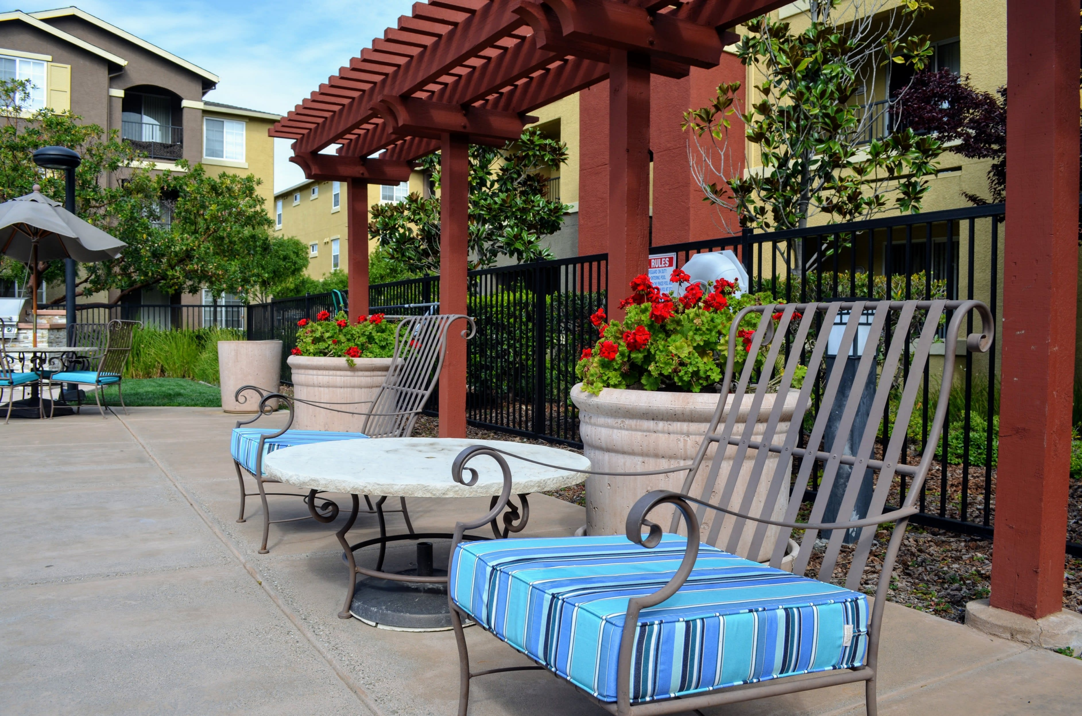 Outdoor Relaxing Area at Sterling Village Apartment Homes, California, 94590
