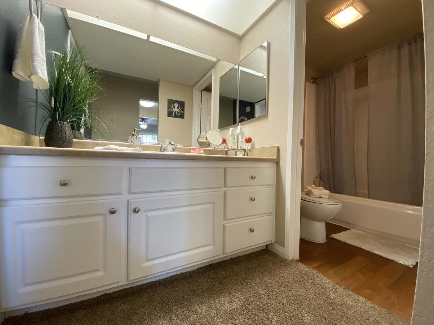 Bathroom With Storage at Stoneridge Apartment, Upland, California