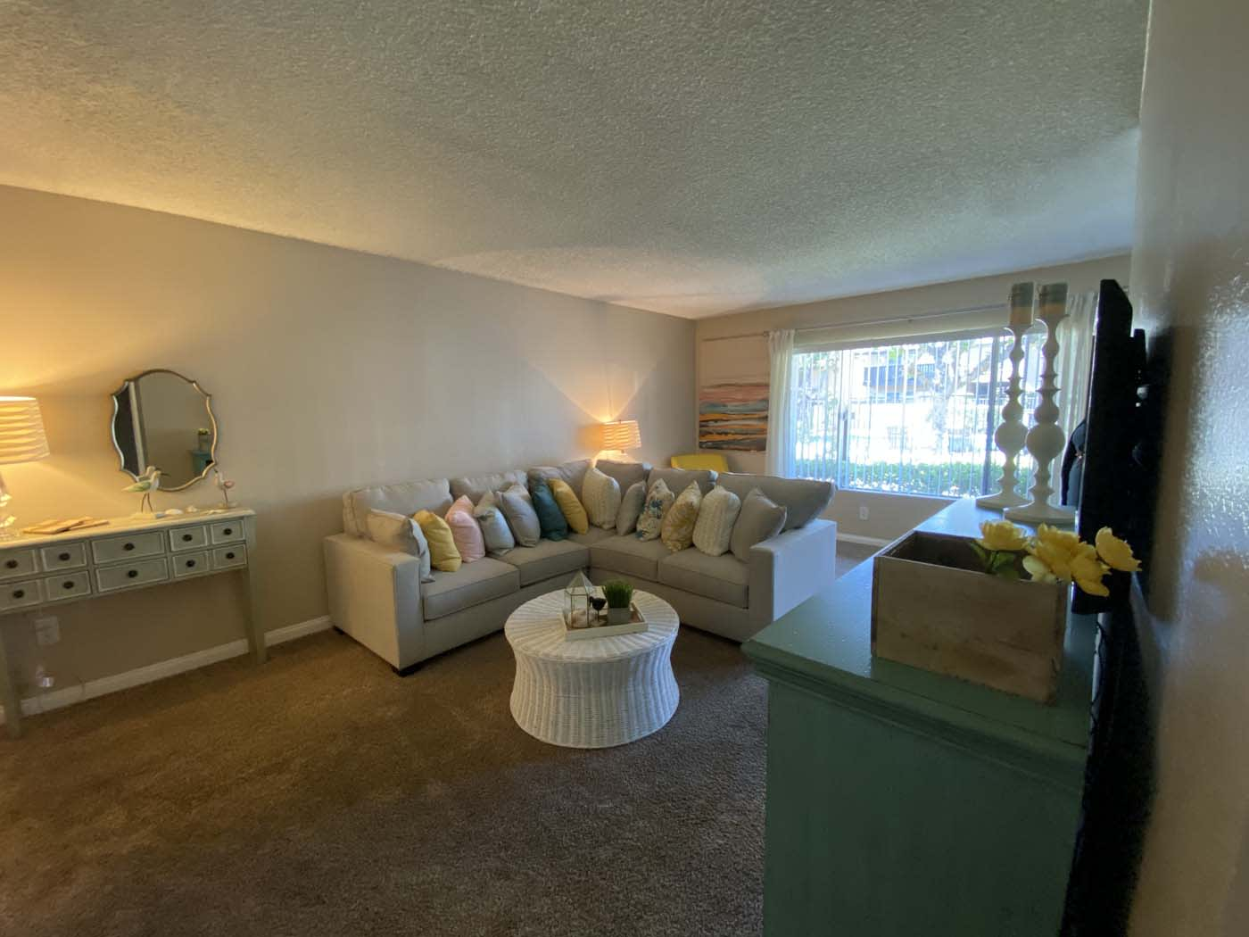 Living Room With Sofa at Stoneridge Apartment, Upland, CA
