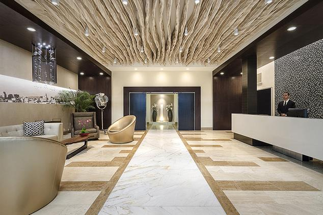 Home Community-Stylish Lobby at 1600 Vine Apartment Homes, California, 90028