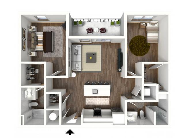 Two Bedroom Floor Plan, at 1415 @ The Yard, 1415 Cuming Street, Omaha