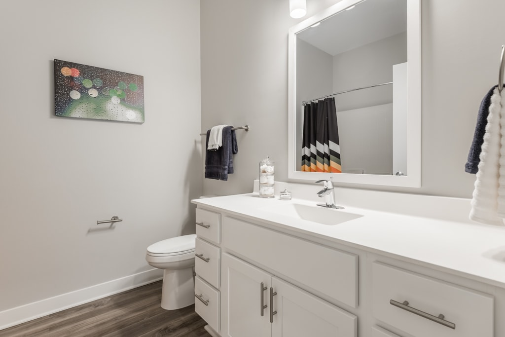 Interiors- Bathroom with white cabinets and white, cultured-marble countertops at The Preserve at Normandale Lake