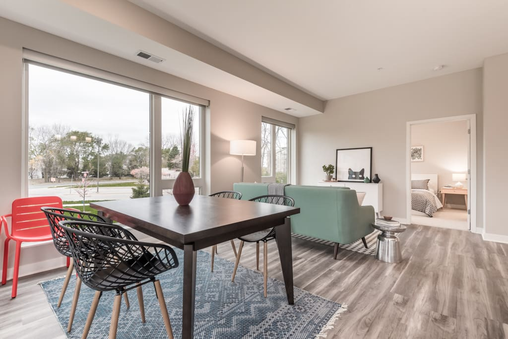 Interiors- Living room view with natural lighting at The Preserve at Normandale Lake