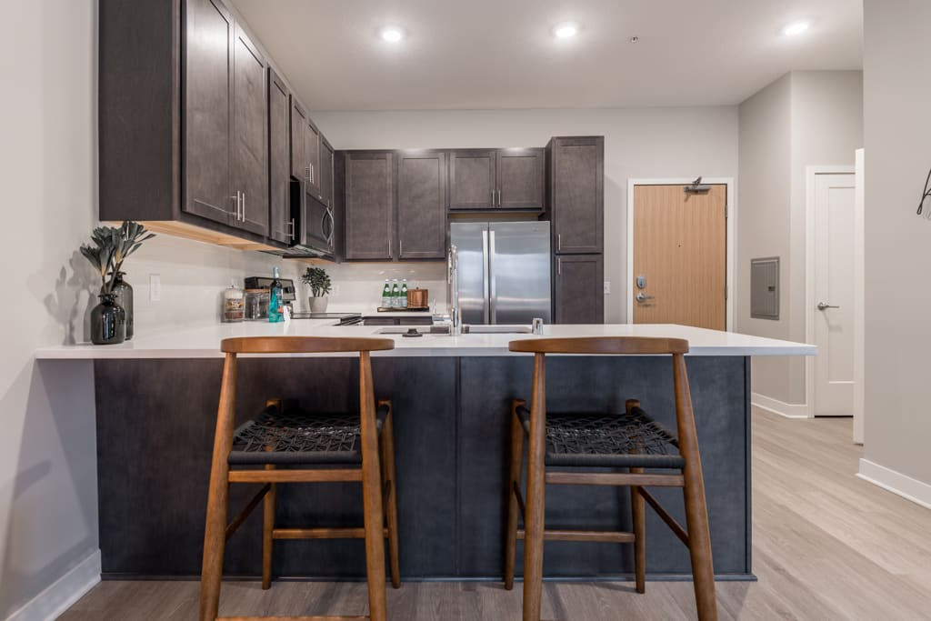 Interiors- Design Scheme B kitchen with darker cabinets and white quartz countertops