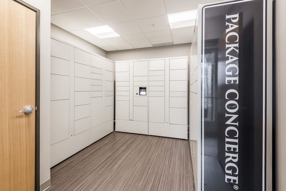 Package receiving room with individual lockers at The Preserve in Bloomington, MN
