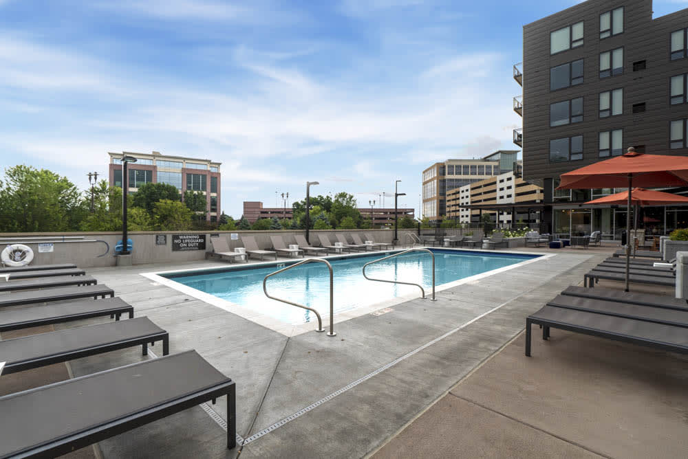 Pool with excellent views of Bloomington.