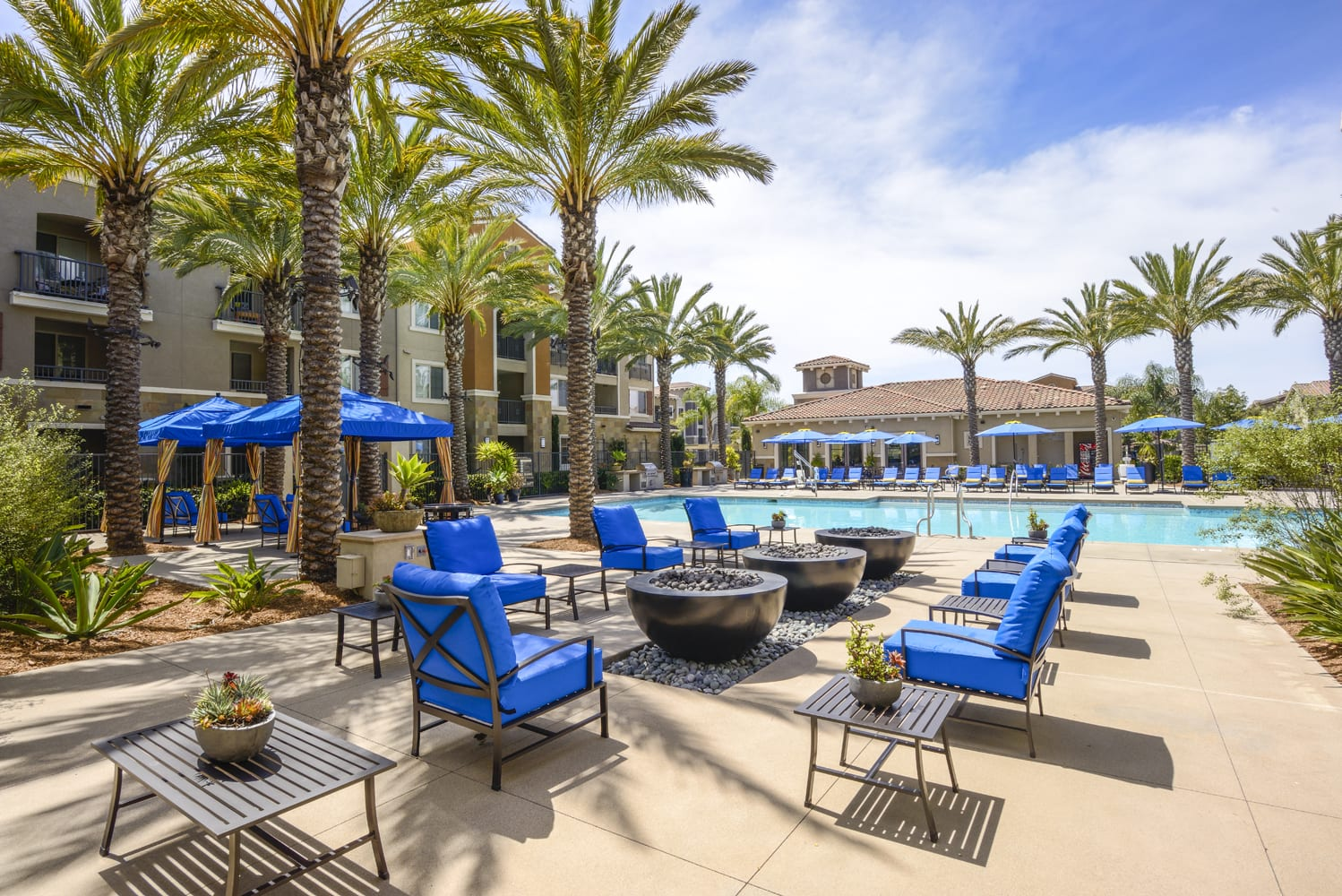 Pool Side Relaxing Area at Preserve at Melrose, California, 92083