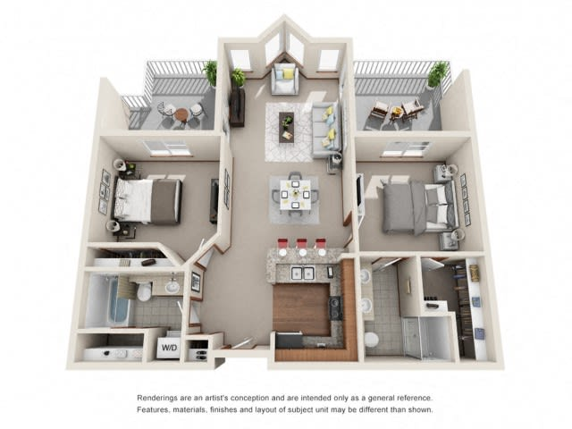 2 Bed 2 Bath Floor plan at Harrington Square, Washington
