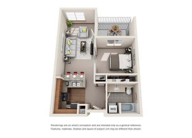 1 Bed 1 Bath Floor plan at Harrington Square, Washington, 98056
