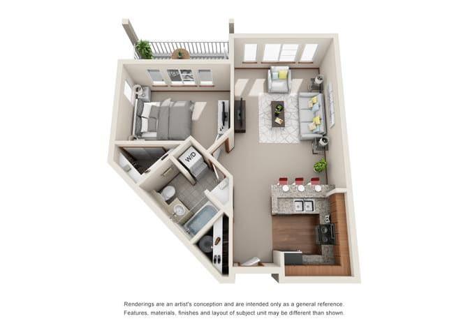 1 Bed 1 Bath Floor plan at Harrington Square, Renton, WA