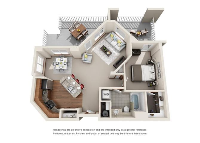 1 Bed 1 Bath Floor plan at Harrington Square, Renton, 98056