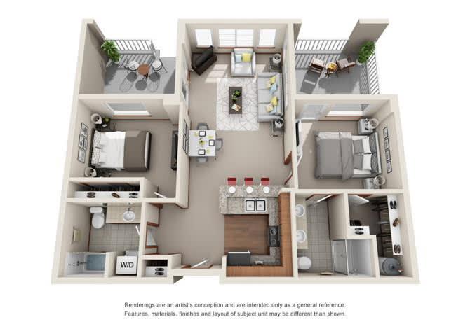 2 Bed 2 Bath Floor plan at Harrington Square, Renton, 98056