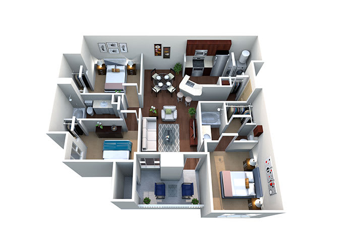 Abilene C-1, 3 Bed 2 Bath, 1234 Sq. Ft. Floor Plan at Lost Spurs Ranch Apartments in Roanoke, Texas
