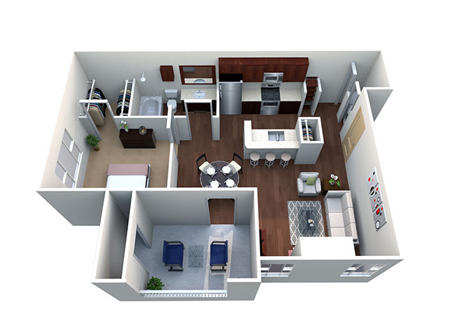 Cheyenne A-2, 1 Bed 1 Bath,  691 Sq. Ft. Floor Plan at Lost Spurs Ranch Apartments in Roanoke, TX