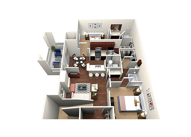 Guadalupe B3-2, 2 Bed 2 Bath, 1182 Sq. Ft. Floor Plan at Lost Spurs Ranch Apartments in Roanoke, Texas