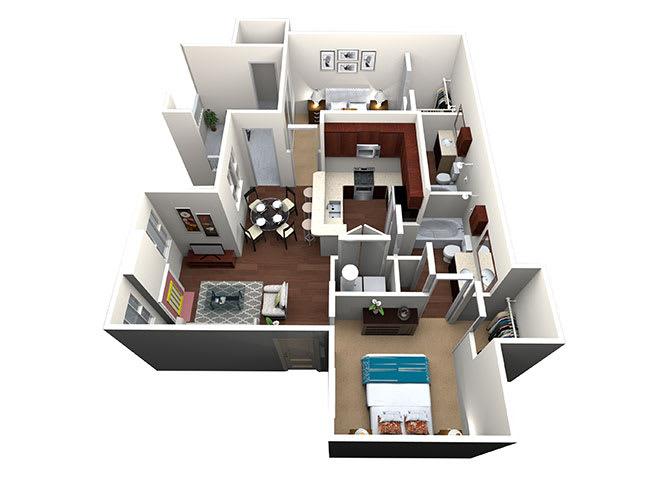 Hidalgo B-2, 2 Bed 2 Bath, 961 Sq. Ft. Floor Plan at Lost Spurs Ranch Apartments in Roanoke, TX