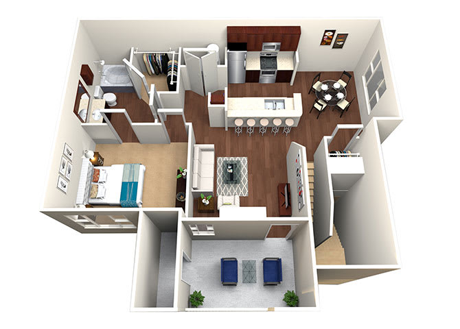 Laredo A3-2, 1 Bed 1 Bath, 888 Sq. Ft. Floor Plan at Lost Spurs Ranch Apartments in Roanoke, Texas