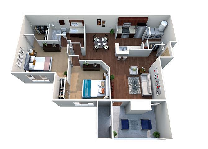 Pecos B-1, 2 Bed 1 Bath, 892 Sq. Ft. Floor Plan at Lost Spurs Ranch in Roanoke, Texas