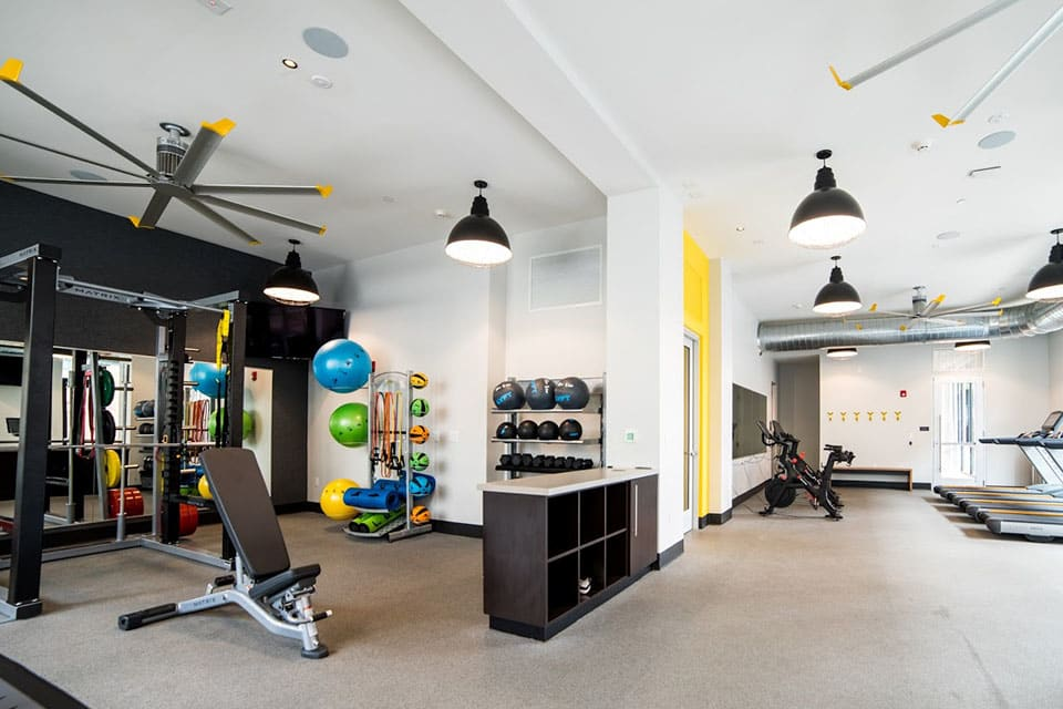 Fitness Center With Modern Equipment at CityWay, Indianapolis, Indiana