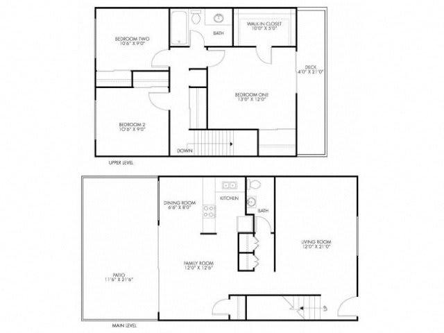 3 Bedroom 1.5 Bath Floor Plan at Monterey Townhouse, Monterey, CA