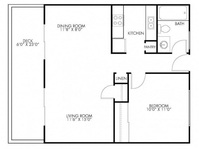 1 Bedroom 1 Bath Floor Plan at Monterey Townhouse, Monterey