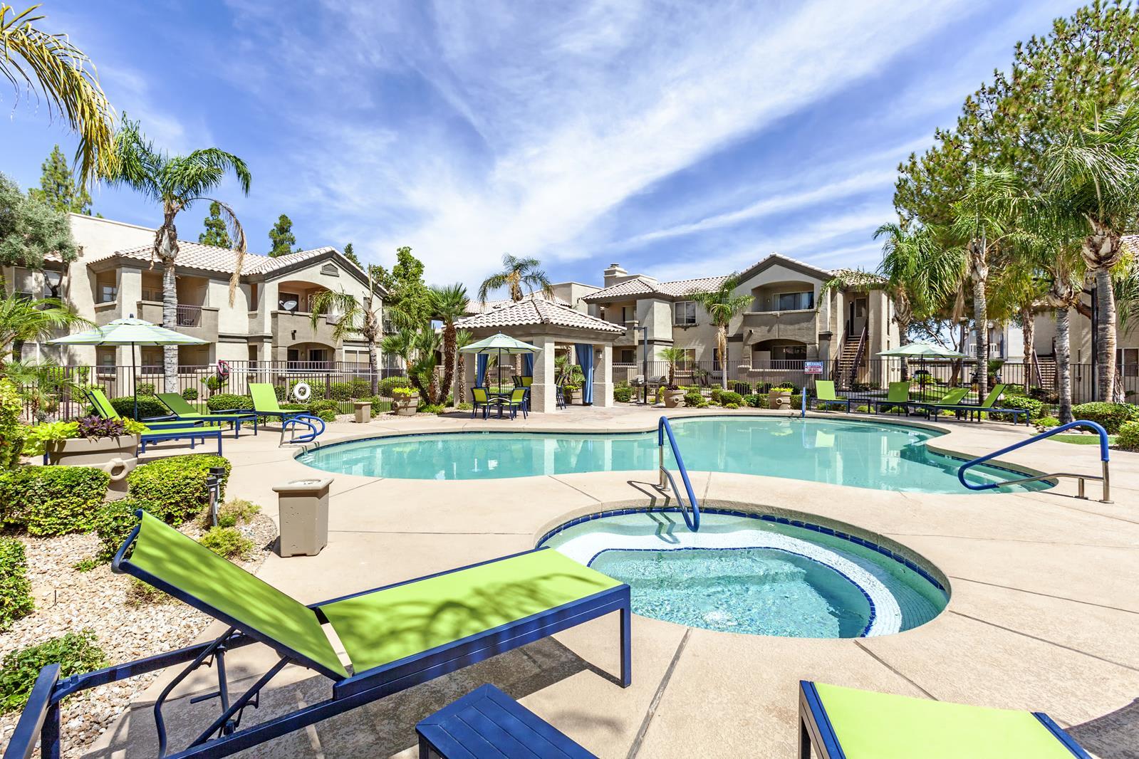 Hot Tub And Swimming Pool at Lumiere Chandler Condos, Chandler, AZ