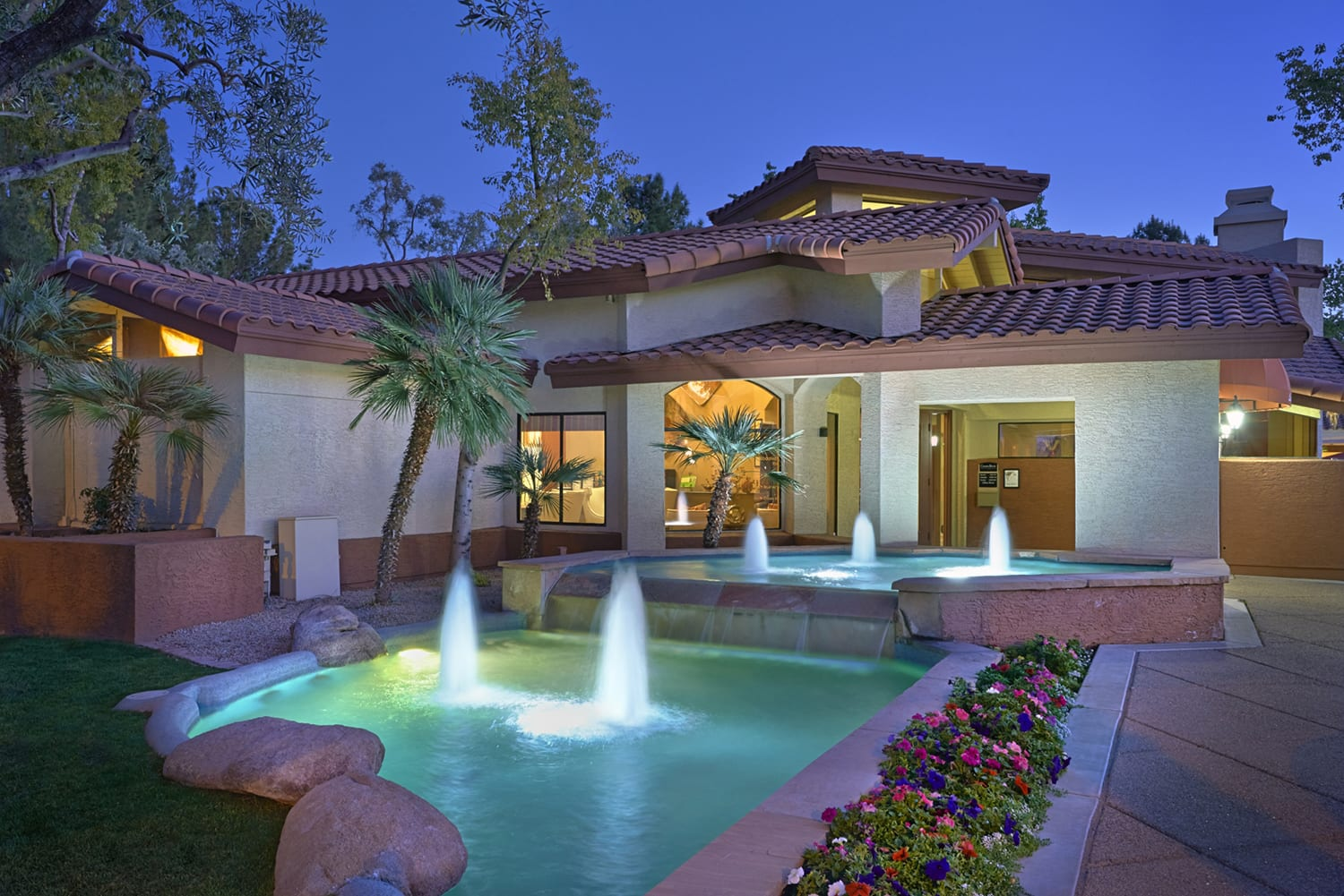Resort Inspired Pool Featuring Cabana and Wet Deck with Bubblers at Country Brook Apartments, 4909 West Joshua Blvd, Chandler