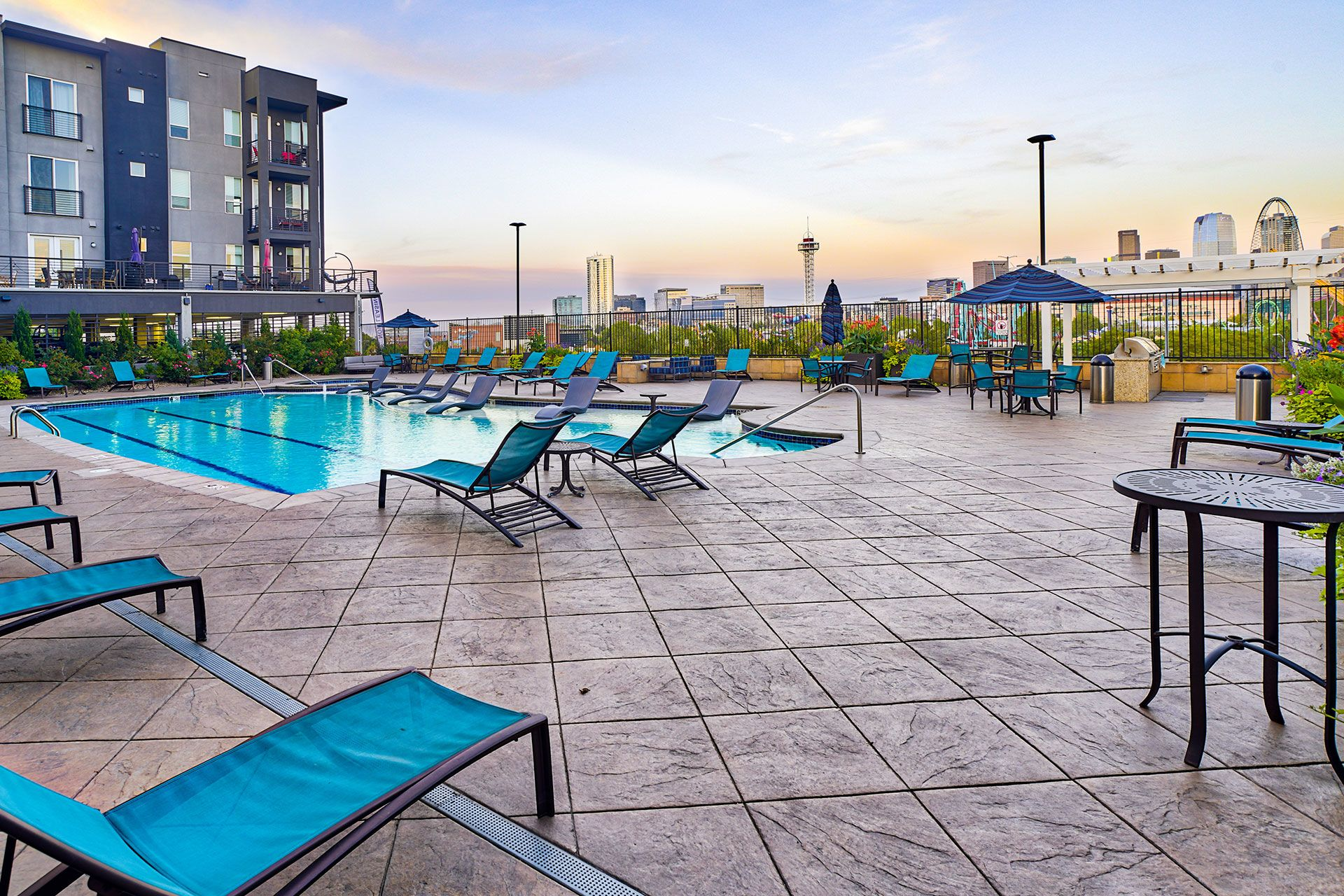 Pool with lounge chairs at Element 47 by Windsor, Downtown Denver, 80211