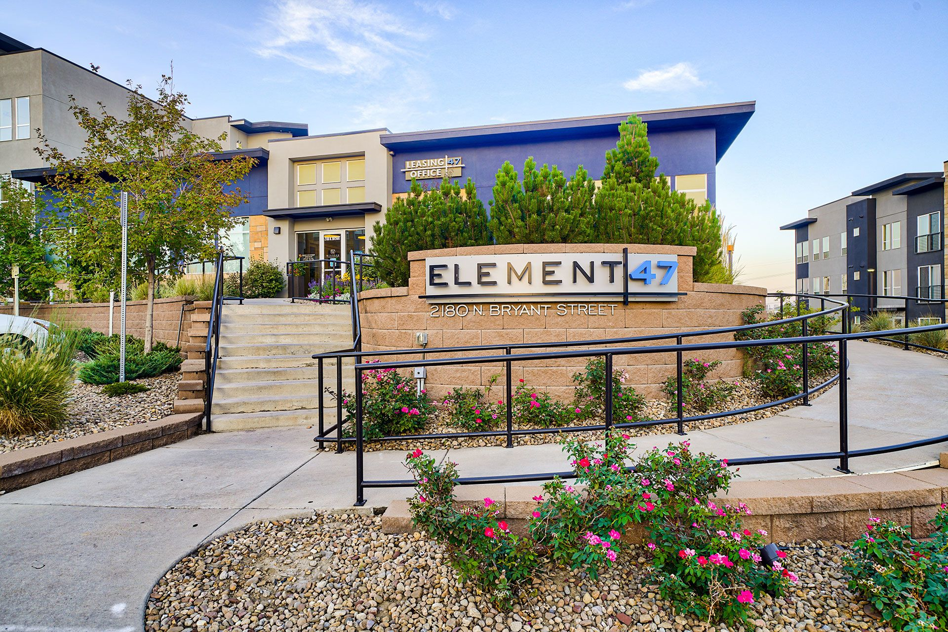 Exterior street view of building at Element 47 by Windsor, 2180 N. Bryant St., Denver