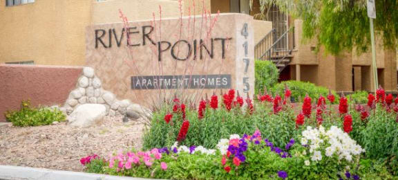 Decorated Property Signage at River Point Apartments, Tucson, AZ, 85712