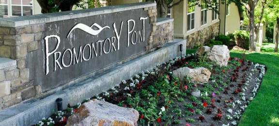 Decorated Property Signage at Promontory Point Apartments, Sandy