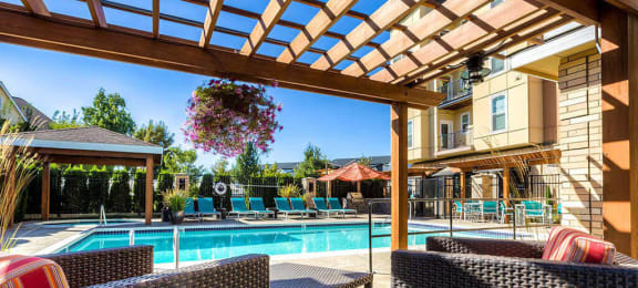 Lounging By The Pool at Domaine at Villebois Apartment Homes, Wilsonville, 97070
