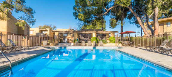 Rio Vista pool view with plenty of lounge area and tall trees surrounding
