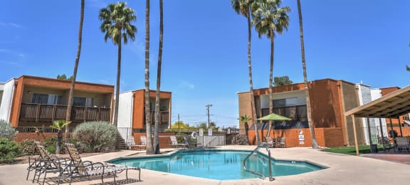 Pool, Pool Patio, Exterior & Landscaping at Claremont Villas Apartments in Tucson, AZ