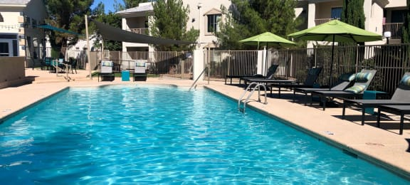 Pool and pool patio at Port Royale Apartments in Sierra Vista AZ April 2020