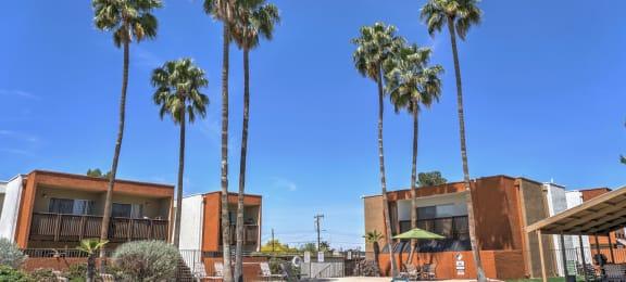 Pool, Pool Patio, Exterior & Landscaping at Claremont Villas Apartments in Tucson, AZ