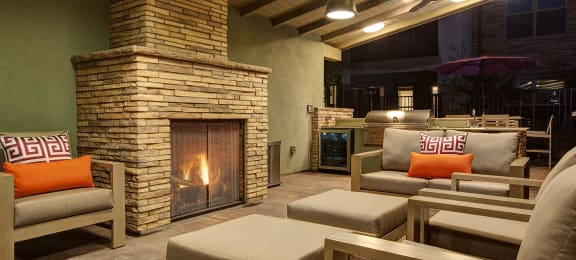 Outdoor Lounge with Fireplace | BDX at Capital Village in Rancho Cordova, CA