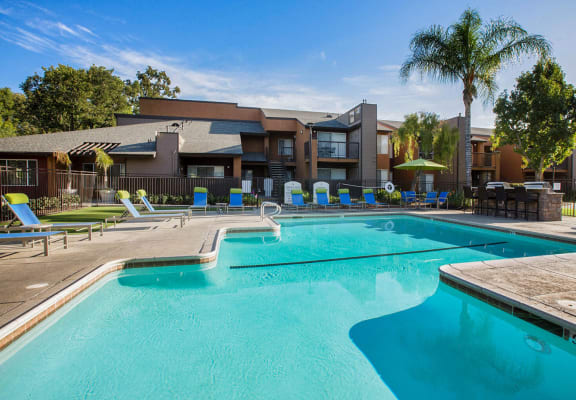 Resort style pool and apartment exterior