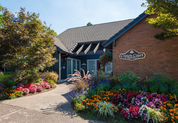 Crown Court Clubhouse Exterior & Floral Landscaping