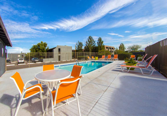 Pool & pool patio at Zona Village Apartments in Tucson, AZ