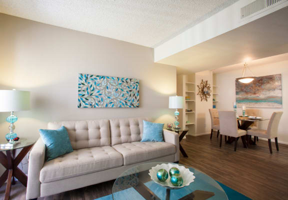 Living room at Saguaro Villas Apartments in Tucson, AZ