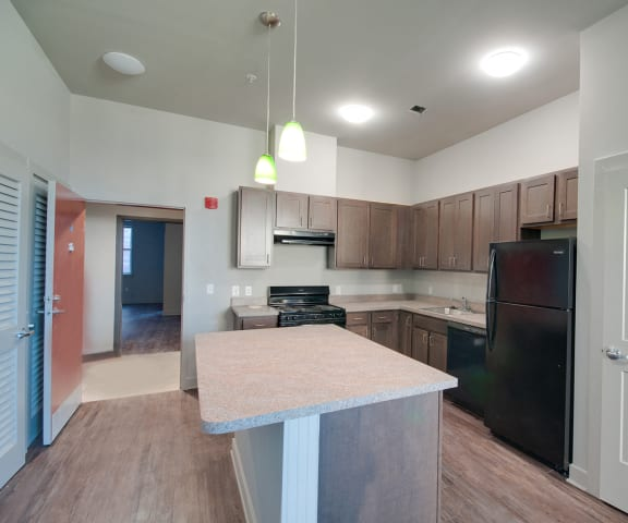 Franklin Lofts and Flats Apartment Kitchen with Island