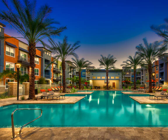 Pool, pool patio & exterior at Tempo At McClintock Station in Tempe, AZ