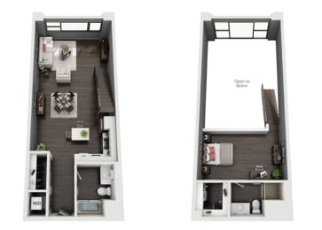 One Bedroom, Two Bath Loft Floor Plan at The Mansfield at Miracle Mile, California, opens a dialog