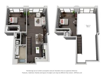 Floor Plan 2 bedroom 1 bath loft, opens a dialog