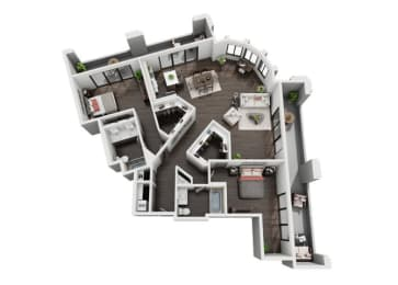 Two Bedroom, Two Bath Floor Plan at The Mansfield at Miracle Mile, Los Angeles, CA , 90036, opens a dialog