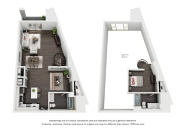 One Bedroom, Two Bath Loft Penthouse Floor Plan at The Mansfield at Miracle Mile, Los Angeles, 90036, opens a dialog
