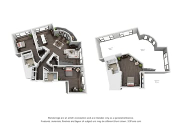 Three Bedroom, Three Bath Loft Floor Plan at The Mansfield at Miracle Mile, Los Angeles, 90036, opens a dialog