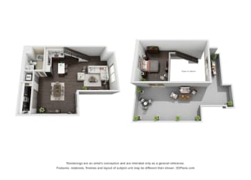 Studio Loft Penthouse Floor Plan at The Mansfield at Miracle Mile, California, 90036, opens a dialog